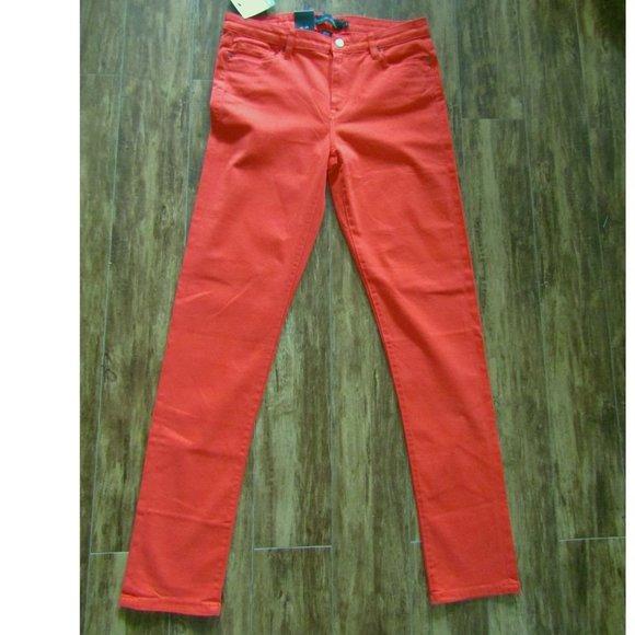 Calvin Klein Orange Mid Rise Skinny Jeans 8